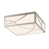 "Picture for category Flush Mounts 1 Light Fixture With Satin Nickel Finish White Glass LED 12"" 18 Watts"