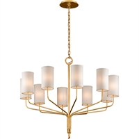 Picture for category Troy Lighting F6169 Chandeliers Textured Gold Leaf Hand-Worked Iron / Hardback Linen Juniper