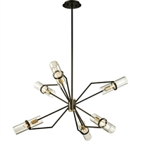 Picture for category Troy Lighting F6316 Chandeliers Textured Bronze with Brushed Brass Hand-Worked Iron and Brass / Glass Raef