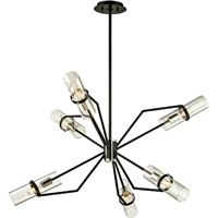 Picture for category Troy Lighting F6326 Chandeliers Textured Black with Polished Nickel Hand-Worked Iron and Brass / Glass Raef