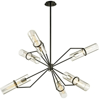 Picture for category Troy Lighting F6328 Chandeliers Textured Black with Polished Nickel Hand-Worked Iron and Brass / Glass Raef