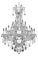 "Picture for category Chandeliers 24 Light Bulb Fixture With Chrome Finish Candelabra Bulb 54"" 960 Watts"