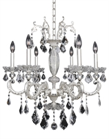 "Picture for category Chandeliers 6 Light Bulb Fixture With Two-Tone Silver Finish Candelabra Bulb 25"" 240 Watts"