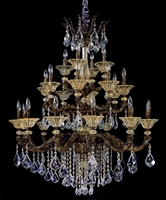 "Picture for category Chandeliers 24 Light Bulb Fixture With Antique Gold Leaf Finish Candelabra Bulb 48"" 960 Watts"