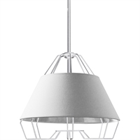 Picture for category Dainolite Lighting ROC-1512-691 Pendants White Fabric/Steel Rockwell