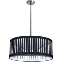 Picture for category Dainolite Lighting SDLED-20P-BK Pendants Polished Chrome Fabric/Metal Slit Drum