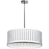 Picture for category Dainolite Lighting SDLED-20P-WH Pendants Polished Chrome Fabric/Metal Slit Drum