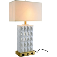 "Picture for category Table Lamps 1 Light Fixtures With Brushed Brass and White Tone Finish Resin and Steel and Fabric Material E26 Bulb Type 8"" 40 Watts"