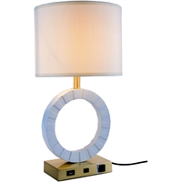 "Picture for category Table Lamps 1 Light Fixtures With Brushed Brass and White Tone Finish Resin and Steel and Fabric Material E26 Bulb Type 13"" 40 Watts"