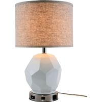 "Picture for category Table Lamps 1 Light Fixtures With Polished Nickel Tone Finish Resin and Steel and Fabric Material E26 Bulb Type 14"" 40 Watts"