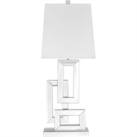 "Picture for category Table Lamps 1 Light Fixtures With Silver Tone Finish MDF/Silver Mirror/Steel Material E26 Bulb Type 13"" 60 Watts"