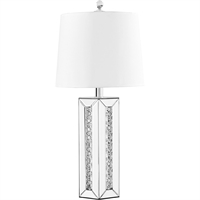 "Picture for category Table Lamps 1 Light Fixtures With Silver Tone Finish MDF/Silver Mirror/Steel/Glass/Crystal Material E26 Bulb Type 14"" 60 Watts"