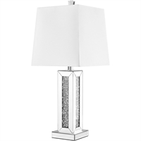"Picture for category Table Lamps 1 Light Fixtures With Silver Tone Finish MDF/Silver Mirror/Steel/Glass/Acrylic Material E26 Bulb Type 13"" 60 Watts"