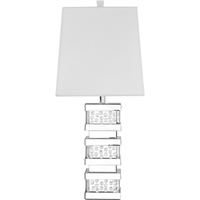 "Picture for category Table Lamps 1 Light Fixtures With Silver Tone Finish MDF/Silver Mirror/Steel/Glass/Crystal Material E26 Bulb Type 13"" 60 Watts"