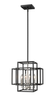 "Picture for category Chandeliers 4 Light Fixtures With Black and Brushed Nickel Finish Steel Material Candelabra 14"" 240 Watts"