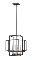 "Picture for category Chandeliers 4 Light Fixtures With Black and Brushed Nickel Finish Steel Material Candelabra 18"" 240 Watts"