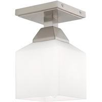 Picture for category Livex Lighting 10280-91 Flush Mounts 5in Brushed Nickel Steel 1-light