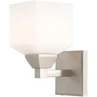 Picture for category Livex Lighting 10281-91 Wall Sconces 5in Brushed Nickel Steel 1-light