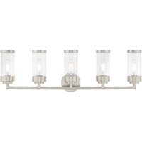 Picture for category Livex Lighting 10365-91 Bath Lighting 36in Brushed Nickel Steel 5-light