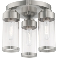 Picture for category Livex Lighting 40474-91 Flush Mounts Brushed Nickel Steel 3-light