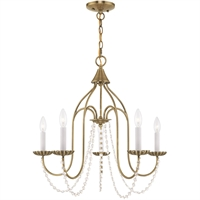 Picture for category Livex Lighting 40795-01 Chandeliers Antique Brass Steel 5-light