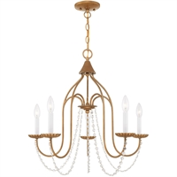 Picture for category Livex Lighting 40795-48 Chandeliers Antique Gold Leaf Steel 5-light