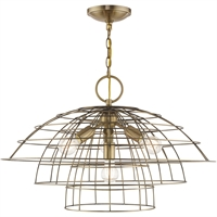 Picture for category Livex Lighting 50948-01 Chandeliers Antique Brass Steel 3-light