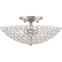 "Picture for category Flush Mounts 2 Light Fixtures With Brushed Nickel Finish Steel Material Candelabra 6"" 120 Watts"