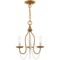 "Picture for category Mini Chandeliers 3 Light Fixtures With Antique Gold Leaf Finish Steel Material Candelabra 17"" 180 Watts"