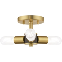 "Picture for category Satin Brass Tone Finish Flush Mounts 6"" Long Steel Material Medium 3 Light Fixture"