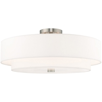 "Picture for category Flush Mounts 5 Light Fixtures With Brushed Nickel Finish Steel Material Medium 10"" 300 Watts"
