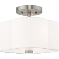 "Picture for category Flush Mounts 2 Light Fixtures With Brushed Nickel Finish Steel Material Medium 9"" 80 Watts"