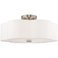 "Picture for category Flush Mounts 3 Light Fixtures With Brushed Nickel Finish Steel Material Medium 9"" 180 Watts"