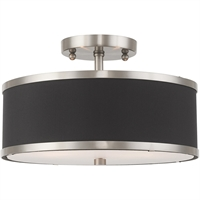 "Picture for category Flush Mounts 2 Light Fixtures With Brushed Nickel Finish Steel Material Medium 8"" 120 Watts"