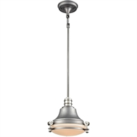 Picture for category Elk Lighting 16105/1 Pendants Weathered Zinc and Polished Nickel Metal/Glass Riley