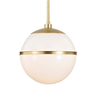 "Picture for category Pendants 1 Light Fixtures With Aged Brass Finish Glass and Steel Material Medium 12"" 75 Watts"
