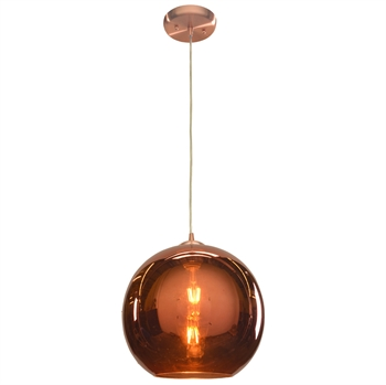 "Picture of Pendants 1 Light Fixtures With Brushed Copper Finish Aluminum Material E-26 Type 12"" 10 Watts"