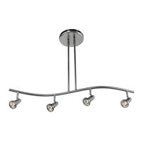 "Picture for category Pendants 4 Light Fixtures With Brushed Steel Finish Metal Material GU-10 Type 4"" 20 Watts"