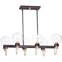 Picture for category Maxim Lighting 30519CLBZSBR Island Lighting Bronze and Satin Brass Steel and Glass Bauhaus