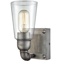 "Picture for category Bathroom Vanity 1 Light Fixtures With Weathered Zinc with Washed Wood Finish Metal Glass Wood Material Medium Bulb 5"" 60 Watts"