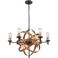 Picture for category Chandeliers 6 Light Fixtures With Oil Rubbed Bronze and Brushed Antique Brass Finish Metal Material Medium Bulb 27""