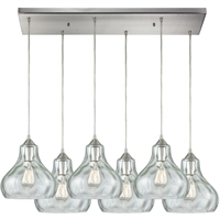 Picture for category Pendants 6 Light Fixtures With Satin Nickel Finish Metal/Glass Material Medium Bulb 30""