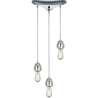 Picture for category Pendants 3 Light Fixtures With Polished Chrome Finish Metal/Glass Material Medium Bulb 10""