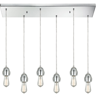 Picture for category Pendants 6 Light Fixtures With Polished Chrome Finish Metal/Glass Material Medium Bulb 30""