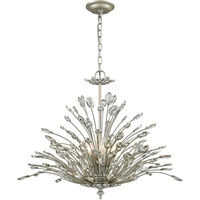 Picture for category Chandeliers 6 Light Fixtures With Aged Silver Finish Metal/Crystal Material Candelabra Bulb 28""