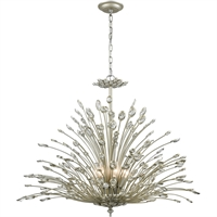 Picture for category Chandeliers 8 Light Fixtures With Aged Silver Finish Metal/Crystal Material Candelabra Bulb 36""