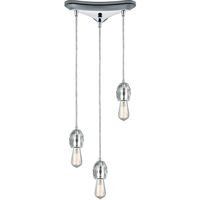 Picture for category Pendants 3 Light Fixtures With Polished Chrome Finish Metal/Crystal Material Medium Bulb 10""
