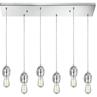 Picture for category Pendants 6 Light Fixtures With Polished Chrome Finish Metal/Crystal Material Medium Bulb 30""