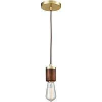 Picture for category Pendants 1 Light Fixtures With Satin Brass Finish Metal/Wood Material Medium Bulb 2""