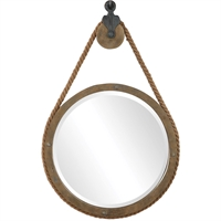 Picture for category Uttermost 09490 Mirrors Aged Natural Wood with Rope and Aged Black Resin/Rope/Mirror/MDF/Steel/Wood Melton
